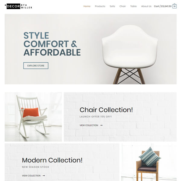 Web Design in Chicago Furniture Store Website Design template